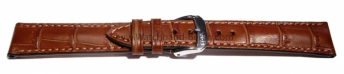 Uhrenarmband 23mm hellbraun Leder Alligatornarbung matt...