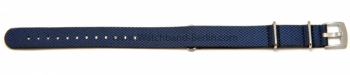 Uhrenarmband 18mm blau Leder / Synthetik Nato