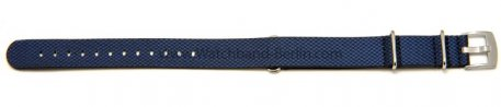 Uhrenarmband 22mm blau Leder / Synthetik Nato
