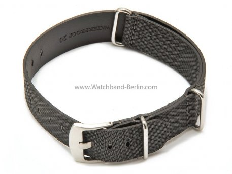Uhrenarmband 20mm grau Leder / Synthetik Nato