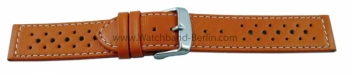 Uhrenarmband 20mm orange Leder Race gelocht