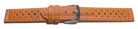 Uhrenarmband 22mm orange Leder Race gelocht