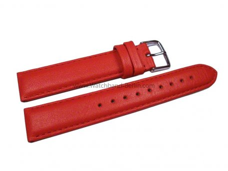 Uhrenarmband echt Leder - Smooth - rot - 8-20 mm
