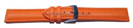 Uhrenarmband - echt Leder - glatt - orange