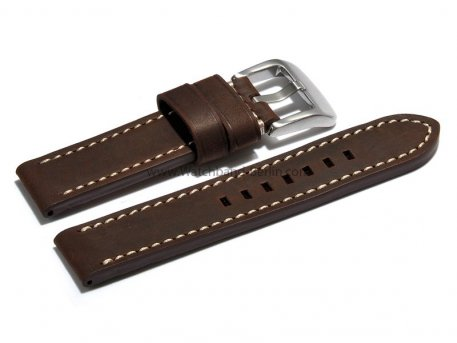 Uhrenarmband 20mm dunkelbraun massives Leder Chrono