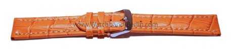 Uhrenarmband 24mm orange Leder Kroko Prägung Vegas