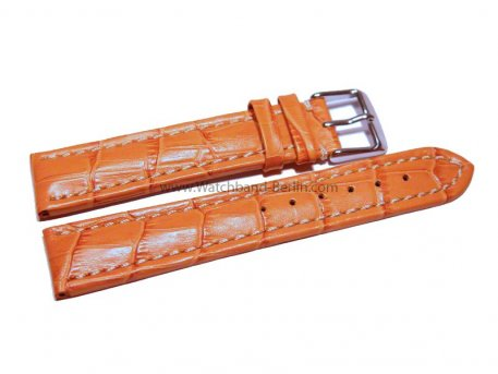 Uhrenarmband 22mm orange Leder Kroko Prägung Vegas